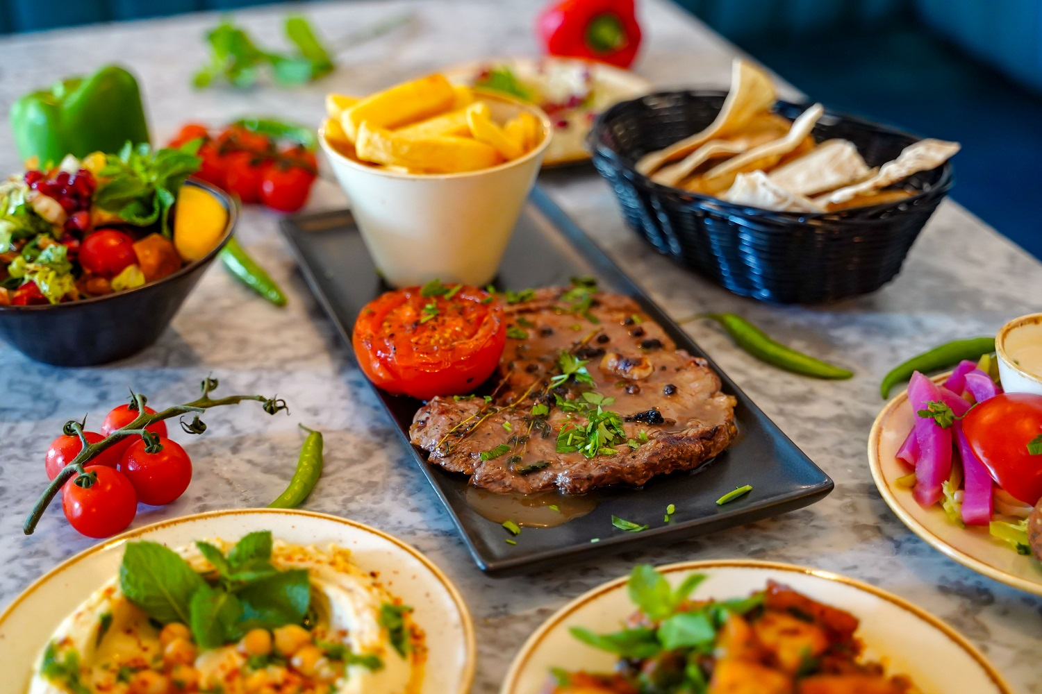 Steak and tapas dishes
